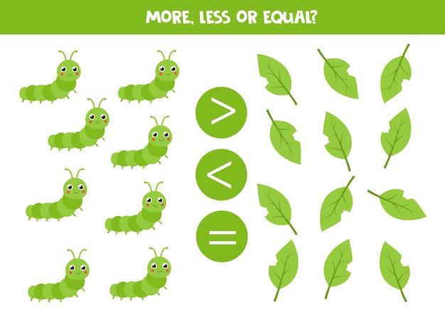 Mais, menos ou igual a uma linda lagarta e folhas. jogo educativo de matemática para crianças.