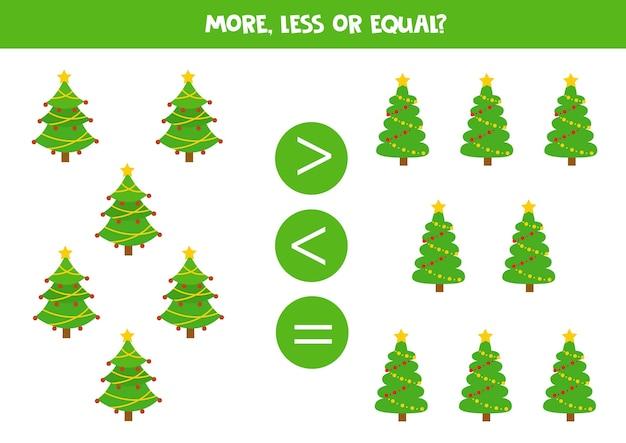 Mais, menos ou igual ao desenho da árvore de natal. jogo educativo de matemática para crianças.