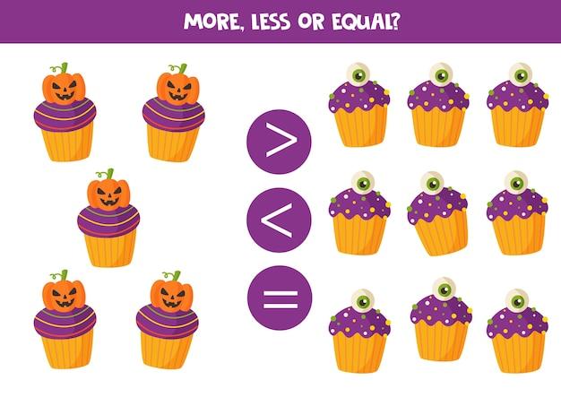 Mais, menos ou igual aos bolinhos assustadores de halloween. jogo educativo de matemática para crianças.