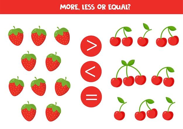 Mais, menos ou igual aos morangos e cerejas dos desenhos animados. jogo de comparação para crianças.