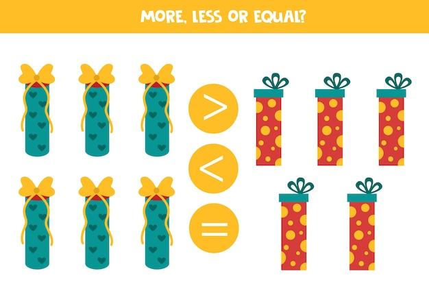 Mais, menos ou igual aos presentes de natal. jogo educativo de matemática para crianças. Vetor Premium