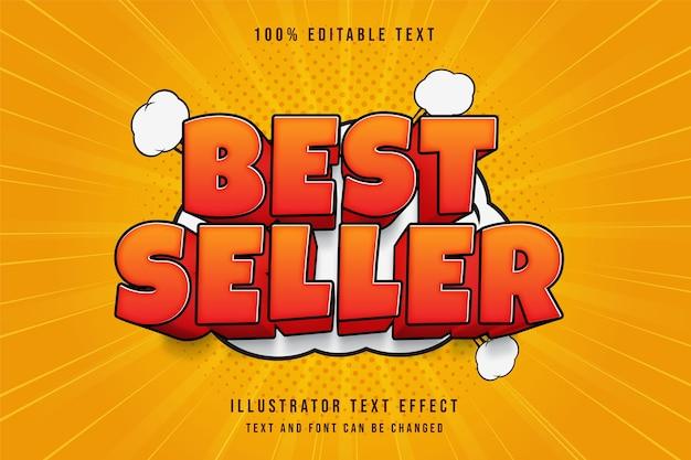 Mais vendido, estilo de texto em quadrinhos vermelho com efeito de texto editável em 3d gradação laranja