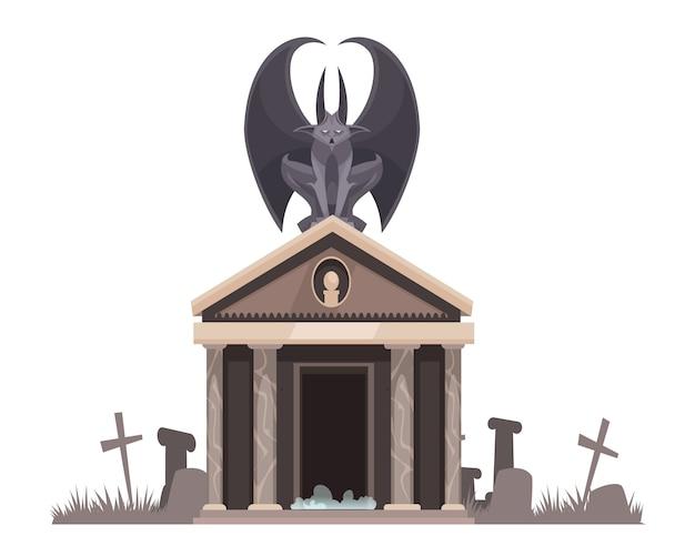 Mal escuro com asas abertas, sentado no telhado da cripta do cemitério perto de sepulturas com cruzes cartum ilustração