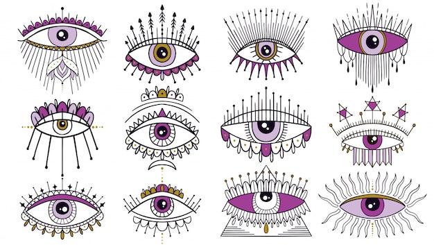 Mal, ver, olho, símbolo, jogo