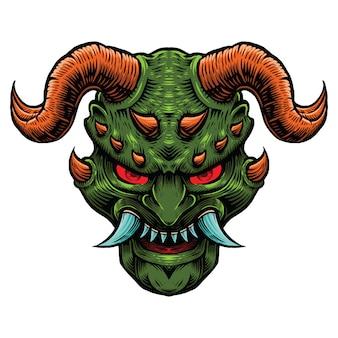 Mal verde escuro com ilustração de chifre vermelho