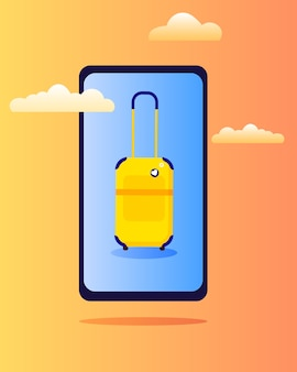 Mala amarela na tela do telefone em um estilo simples