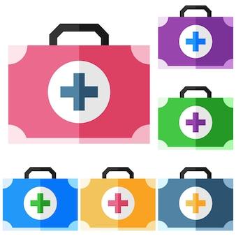 Mala colorida da caixa de medicamentos elemento plano elemento ícone do jogo