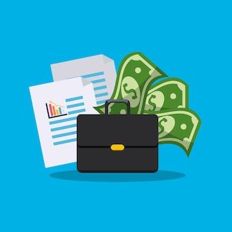 Mala com documentos estatísticos e dinheiro de contas
