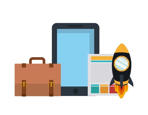 Mala com foguete espacial, documento e smartphone