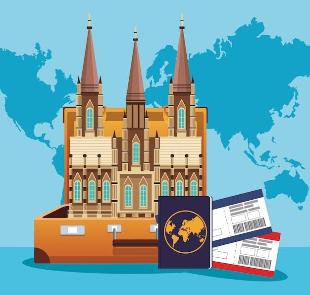 Mala com icônico edifício do mundo e passaporte com passboards