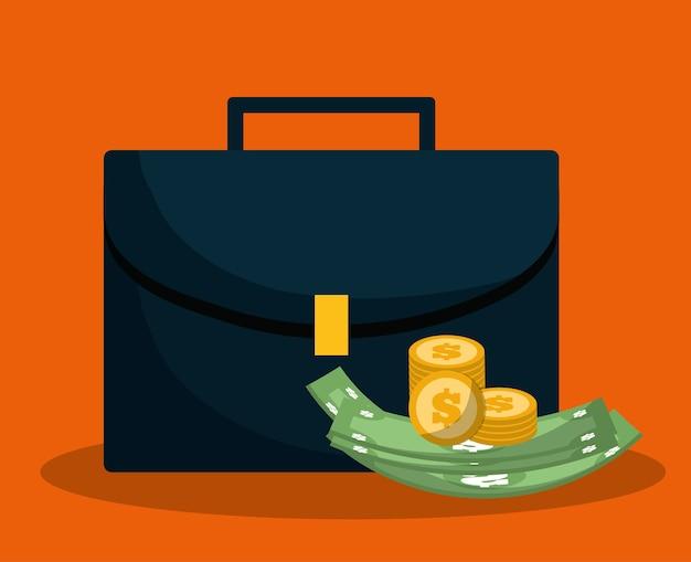 Mala com imagem de ícones relacionados bancários