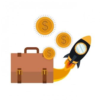 Mala com moedas moedas de dólar e foguete espacial
