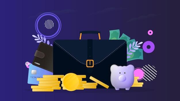Mala de negócios, carteira marrom com cartões de crédito e moedas de ouro. mala masculina com cartões bancários. o conceito de poupança e acumulação de dinheiro.
