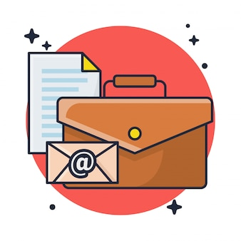 Mala de negócios e documento com correio