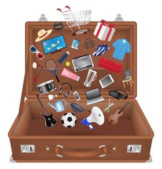 Mala de viagem aberta com objeto de compras em geral