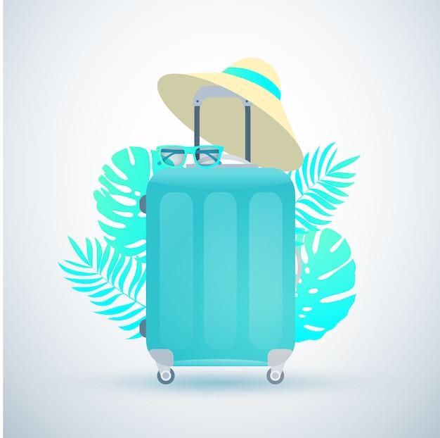 Mala de viagem azul com chapéu de palha e óculos de sol. folhas de plantas tropicais. design plano.