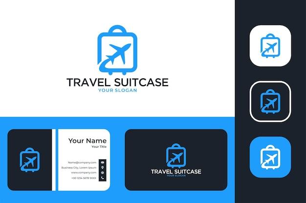 Mala de viagem com design de logotipo de avião e cartão de visita