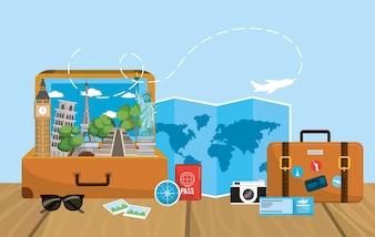 Mala de viagem com destino de mapa global