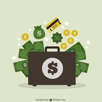 Mala de viagem com dinheiro
