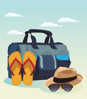 Mala de viagem com sandálias e chapéu com óculos de sol, design colorido