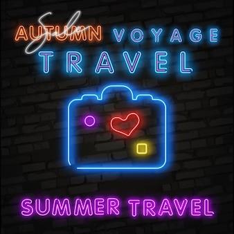 Mala de viagem de néon, bolsa para coisas, efeito de néon de viagens de verão