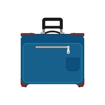 Mala de viagem vista frontal. branco isolado saco das férias da bagagem. valise de carrinho azul com alça de viagem