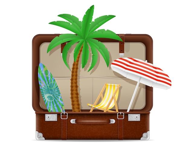 Mala e itens para uma ilustração de conceito de férias na praia isolada no branco