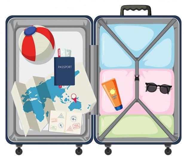Mala moderna com objeto de viagem