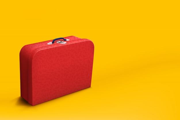 Mala vermelha em amarelo