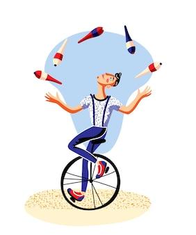 Malabarista masculino com clubes andando de monociclo show de circo