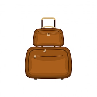 Malas de malas de viagem em fundo branco isolado. mala de viagem marrom verão. conceito de viagens moderno. ilustração do ícone plana.