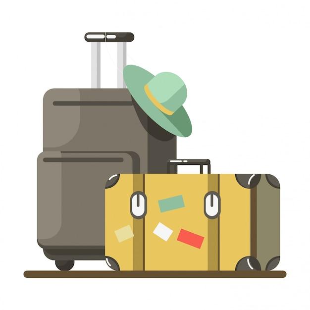 Malas de viagem de férias ou férias de verão vector bagagem