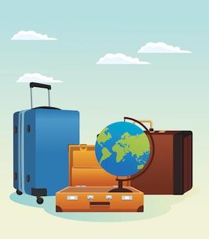 Malas de viagem e ícone do globo