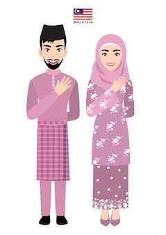 Malásia masculino e feminino em traje tradicional, saudação de pessoas da malásia e bandeira da malásia no personagem de desenho animado de fundo branco