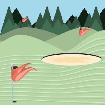 Maldição de golfe com armadilha de areia