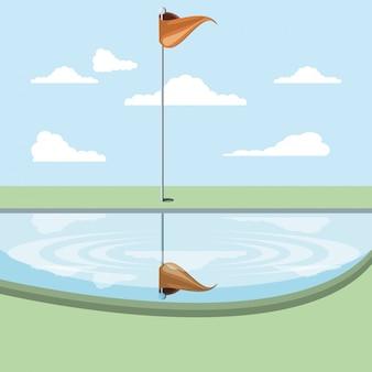 Maldição de golfe com cena do lago