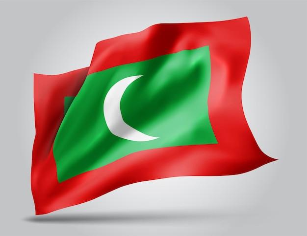Maldivas, bandeira de vetor com ondas e curvas balançando ao vento em um fundo branco.
