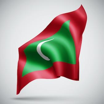 Maldivas, vetor bandeira 3d isolada no fundo branco