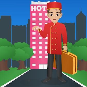 Male hotel porter segurando mala