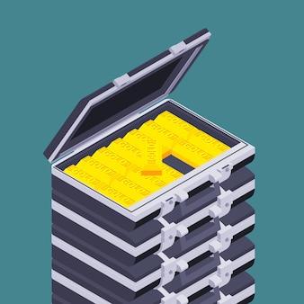 Maleta aberta isométrica com as barras de ouro