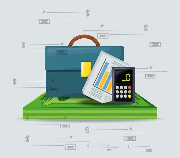 Maleta, contas e calculadora sobre um monte de moeda de dólar