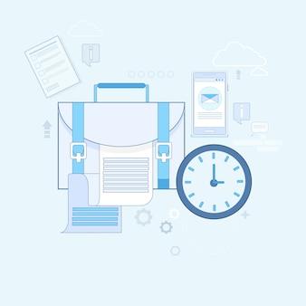 Maleta de negócios com documentos ilustração em vetor linha fina
