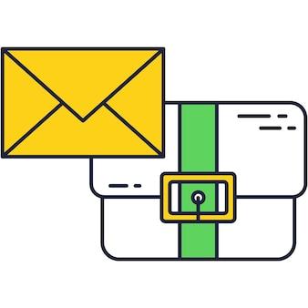 Maleta de negócios e ícone de linha de vetor de envelope