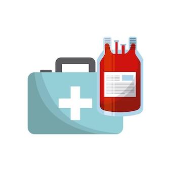 Maleta de primeiros socorros e bolsa de sangue