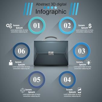 Maleta, escritório - infográfico abstrato de negócios