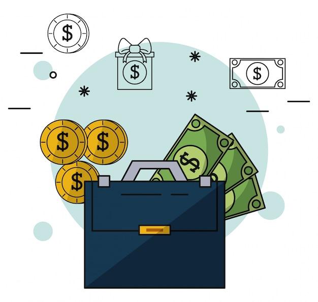 Maleta executiva com dinheiro e moedas