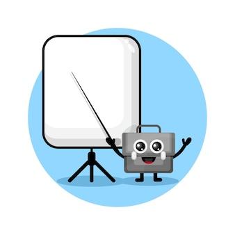 Maleta para ser um logotipo de personagem fofo do professor