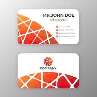 Malha abstrata e design de modelo de cartão de nome poligonal