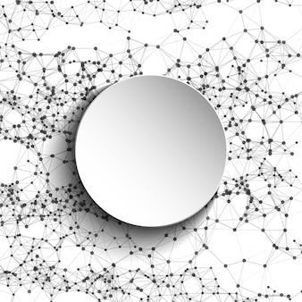 Malha branca redonda tecnologia futurista baixo estilo poli pontos elegantes de fundo