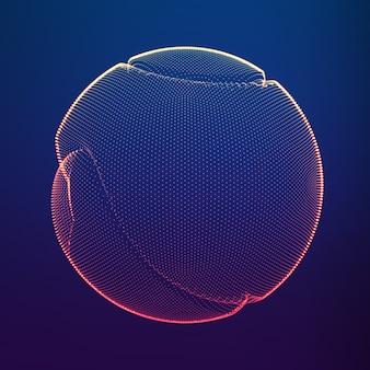 Malha colorida do vetor abstrato em fundo escuro. esfera de ponto corrompido.